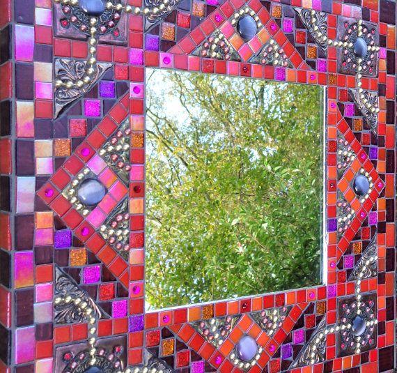 Mosaic mirror, mixed media mosaic mirror, square decorative handmade mirror, red purple pink metallic mirror, glass and polymer clay mirror