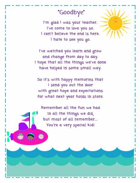 FREE goodbye poem for your students from Ms. Fultz's Corner - I think I can change the wording around to make it from a student TO a teacher!