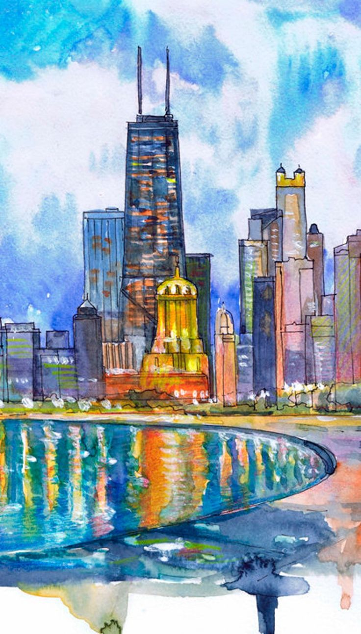 Chicago skyline wall art print city watercolor painting