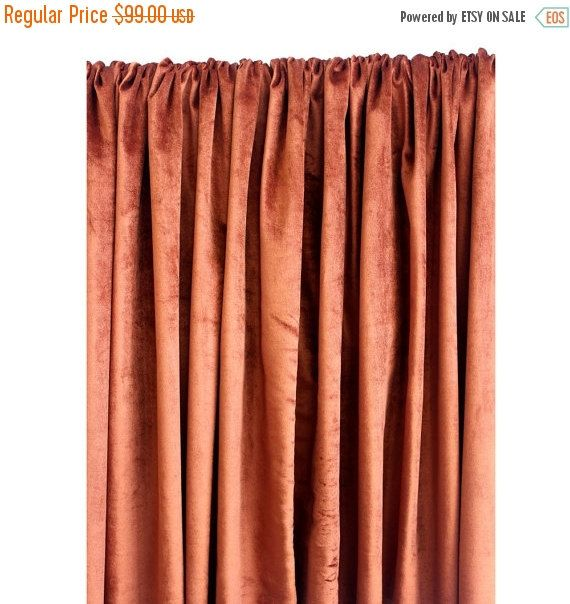 "10% THANKSGIVING SALE Rust Velvet Curtain 52""x84"" Rod Pocket Curtain Panel Drapes Home Living Bedroom Decor Housewares Bedding Blackout Lini"