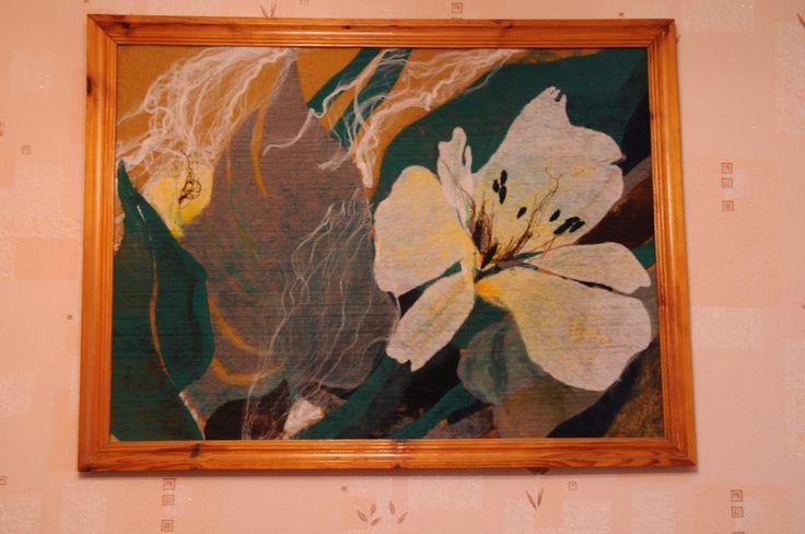 Нетканый гобелен выполнен в технике Yaga. Принимаем заказы на изготовление текстильных панно и других изделий из Яга текстиля.