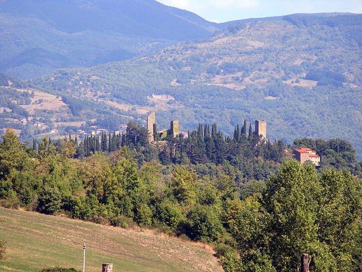 View of the remains of the Castello di Romena near Stia and Pratovecchio.