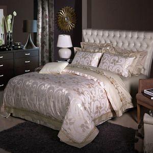 Стиль роскоши пододеяльник набор бежевый ретро цветочный узор постельное белье шелк жаккард хлопок Королева/King size простыни устанавливает плоские листов