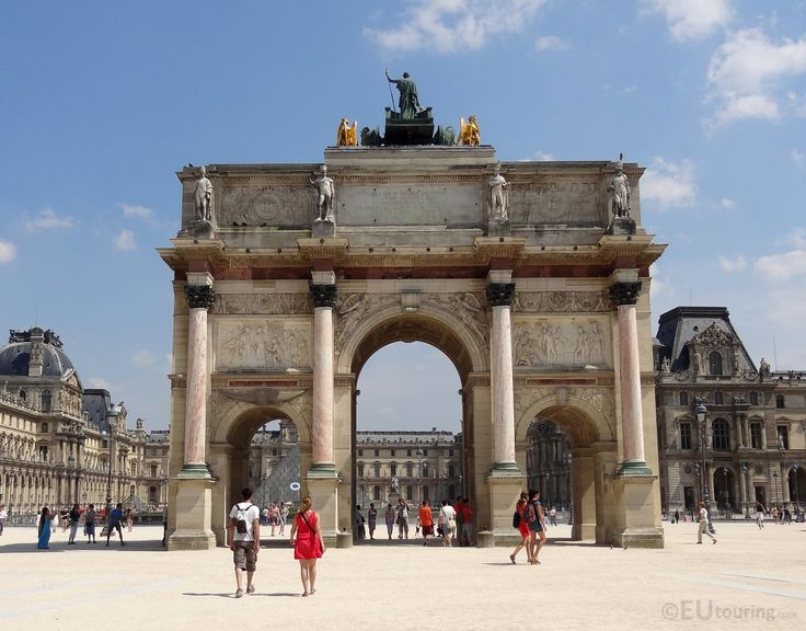 In front of the Louvre this triumphal arch known as the Arc de Triomphe du Carrousel can be found, providing a great view towards the famous Louvre, with parts of the I M Pei pyramid being seen through the gaps.  Daily updates at www.eutouring.com