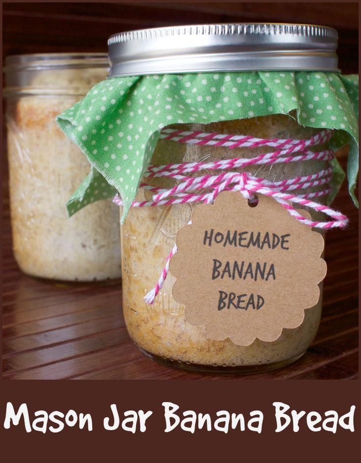 Mason Jar Banana Bread Recipe- this would make a great gift.  Tag made with Cricut Mini.