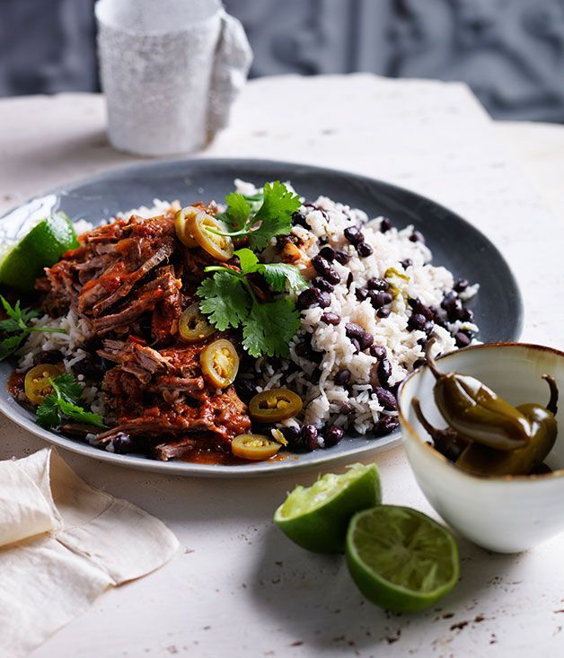 Australian Gourmet Traveller recipe for Cuban black beans and rice with pulled beef.