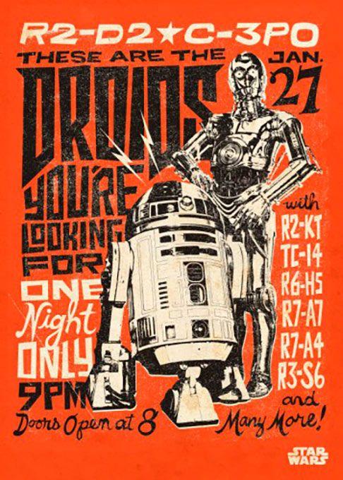 Poster metálico R2-D2 y C-3PO legends retro, 45 x 32 cm. Star Wars Episodio IV  Un poster metálico con los inseparables droides R2-D2 y C-3PO  con un estilo marcadamente retro, como si fueran un mero espectáculo verlos.  Por su estructura de metal este poster es resistente y además de fácil montaje.