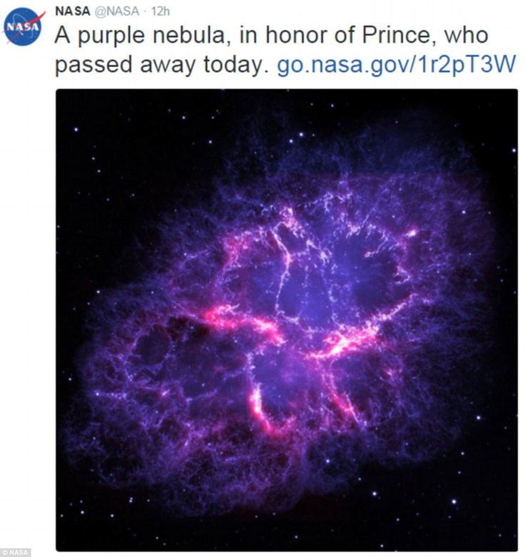Astronomic tribute: NASA tweeted a picture of a nebula in honour of the Purple Rain singer who died at the age of 57 on Thursday