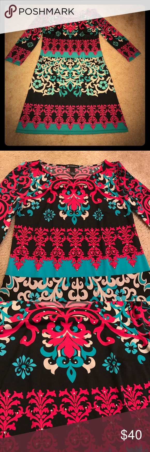 INC dress Gorgeous INC dress. Size M. Colors are black, turquoise, hot pink and beige. Features flashy beads on the front. This dress is perfect for summer and fall because it's lightweight and you can wear it with sandals or knee high boots !! EUC INC International Concepts Dresses