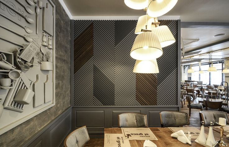 yellowoffice.ro/... EL GRECO/ Relaxed bistro, in the center of the city. Retro elements, warm light and pastel colors, hand-made lamps and special designed chairs relates with the bistro\'s history. Combined they generate a land-mark place