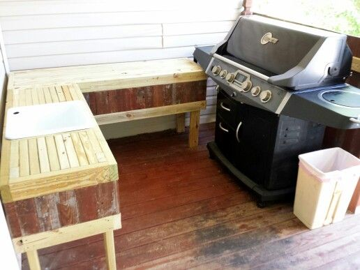 Loving Our New Food Prep Station Diy Patio Furniture Outdoor Grill