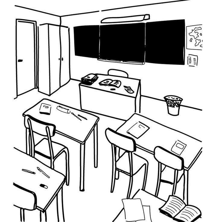 Objets de classe fran ais 1 pinterest - Coloriage classe maternelle ...