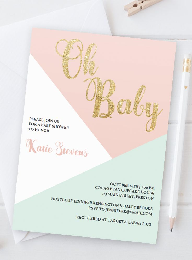 Pink and Gold Baby Shower Invitation by LittleSizzle. Printable Pastel Invite. Make the perfect announcement of your baby shower with this sweet pastel baby shower invitation. Simply download, edit and print!