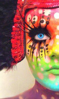 crazy: Polka Dots, Faces Art, Make Up, Fantasy Makeup, Faces Paintings, Color, Body Paintings, Facepaint, Rainbows Faces
