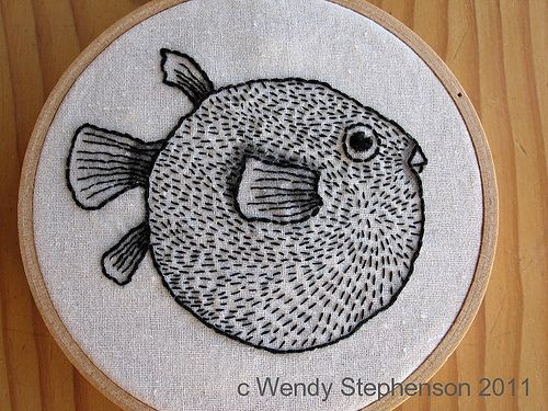 Cool blowfish- love this idea... Would be cool to do favorite fish..