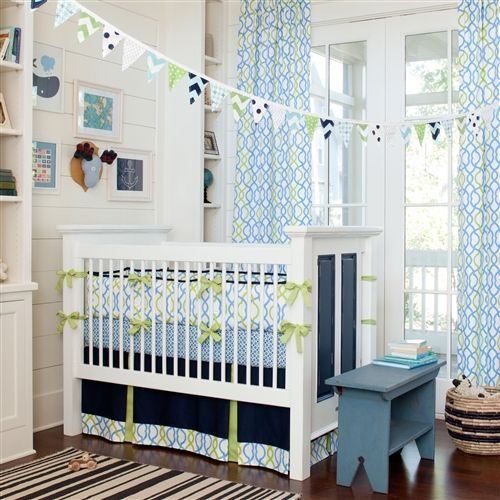 Navy Waves Crib Bedding | Baby Bedding for Boys | Carousel Designs. Really wish the skirt was another color besides the navy... Otherwise, my dream nursery!