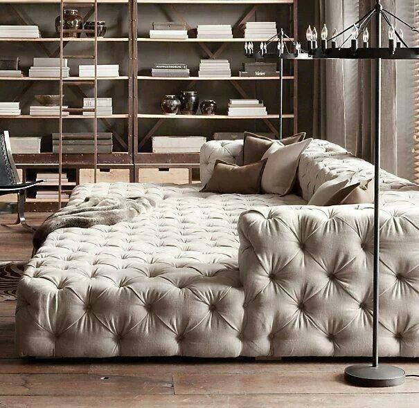 The tufted movie pit couch that could take up your entire living room, as far as you're concerned. Lol, it looks like a giant pet bed made for humans. If this was really comfy I would never want to get up (: