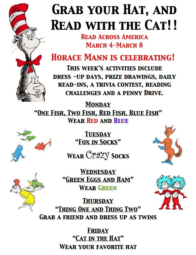 read across america daily activities | ... documents regarding our Read Across America Week student activities