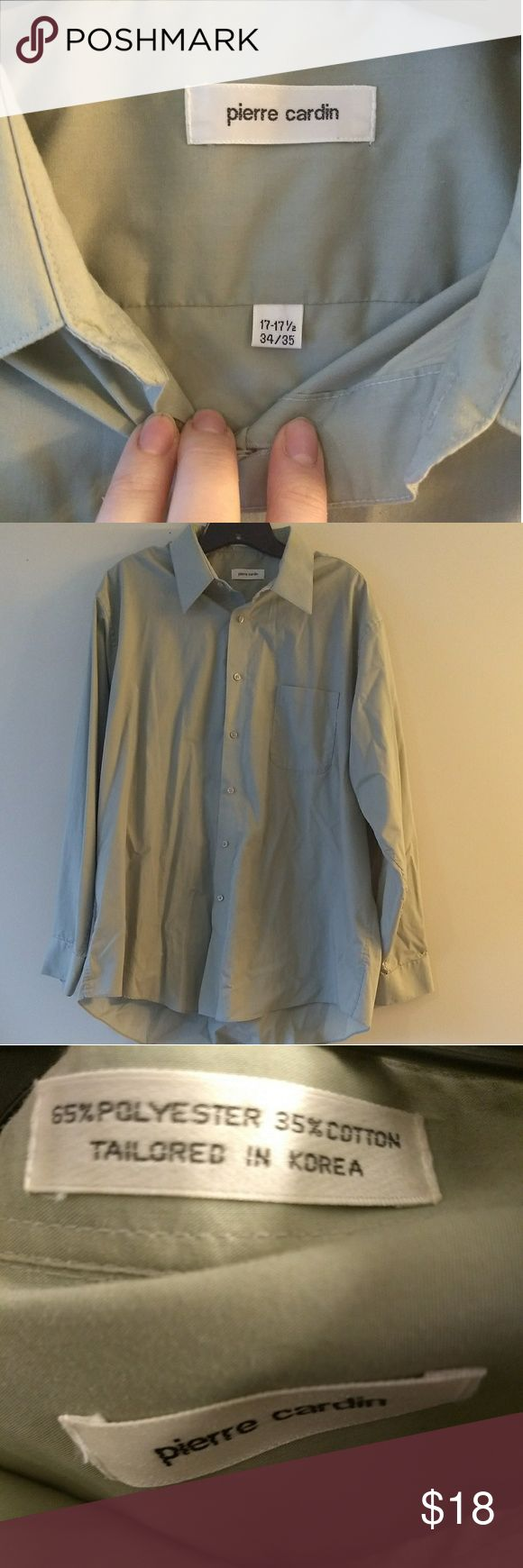 Men's Pierre Cardin seafoam green dress shirt Men's Pierre Cardin seafoam green dress shirt.  Measures 17-17.5 in the neck and 34-35 for the sleeves.  Excellent used condition. Pierre Cardin Shirts Dress Shirts