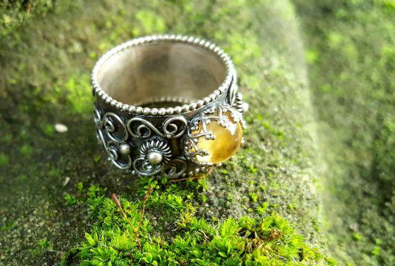 Verouderde zilver filigraan ring met ronde Citrien door Jewe11ery