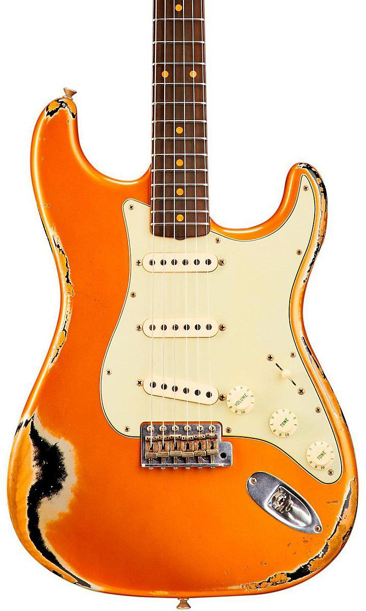 Fender Custom Shop 1962 Heavy Relic Stratocaster Faded Candy Tangerine over Black | KEYMUSIC France