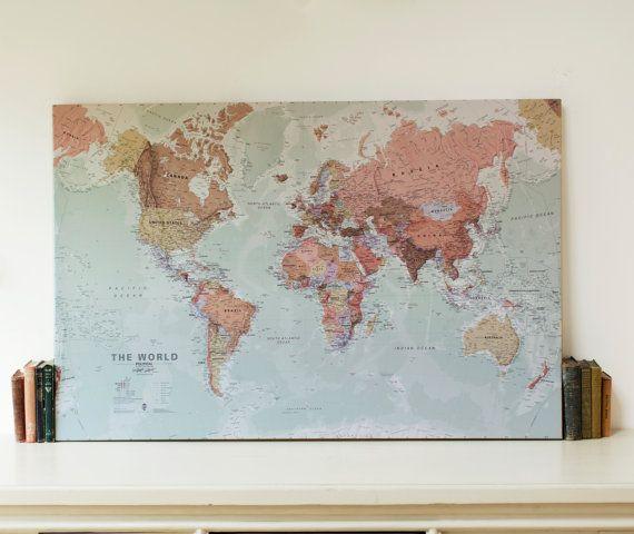 executive world map canvas print wall map gift gift for him gift for her world wall map free shipping map home decor executive map