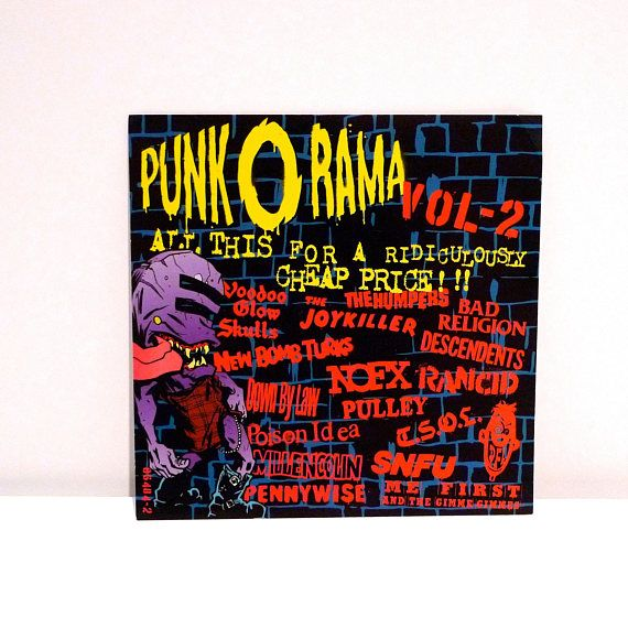 Punk o rama sticker 1996 vintage volume 2 compilation oversize large sticker bad religion rancid nofx
