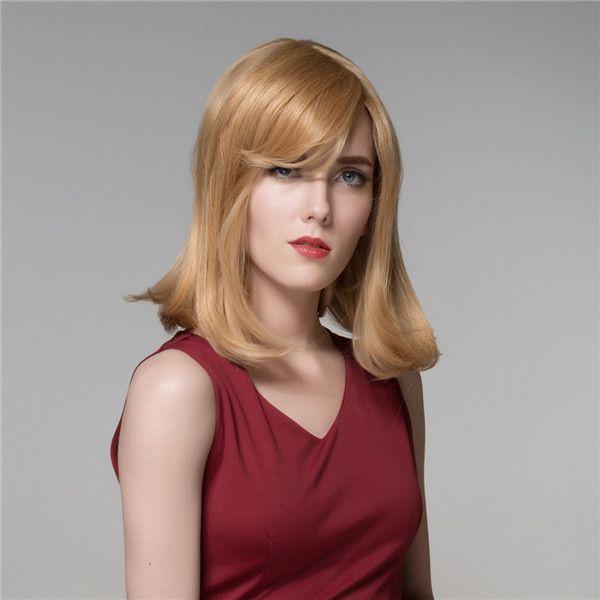 Peluca de cabello humano medio larga recta elegante explosión lado remy  virginal 8 colores para elegir e68d0ef74cd1