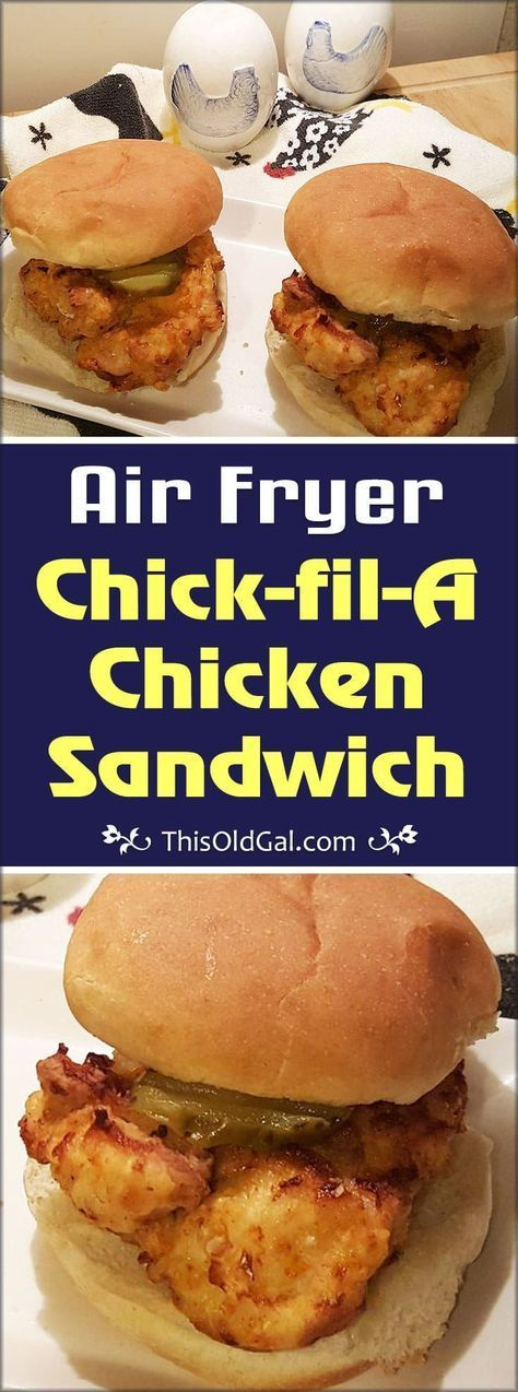 This Air Fryer Chick-fil-A Chicken Sandwich copycat recipe can be made at home, for less calories and fat, then from the restaurant. via @thisoldgalcooks