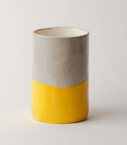 Yellow grey vase stoneware