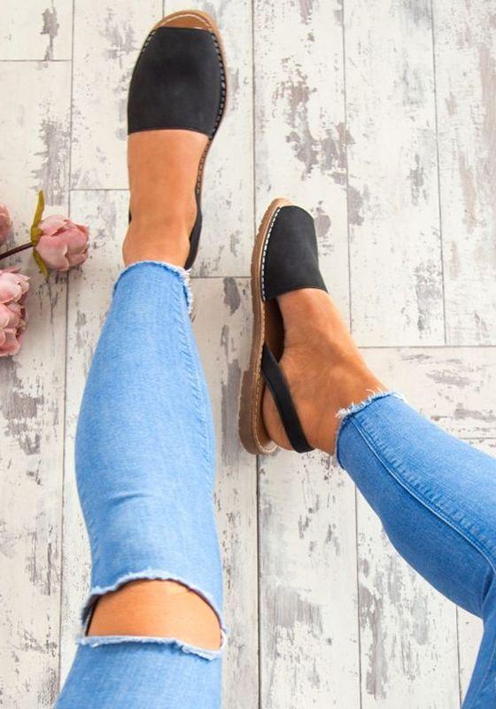 Boca piscine preto moda plana tornozelo hippie verão chinelos sandálias romanas   – Mode
