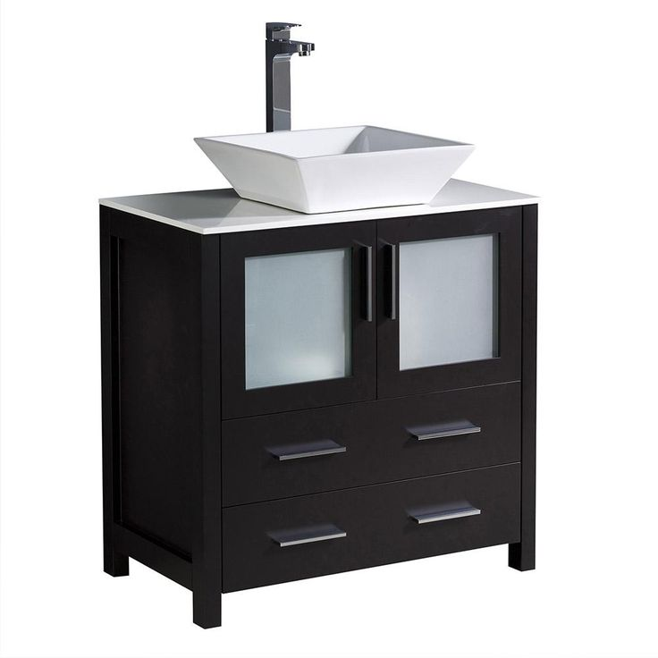 Photo On Bath Vanity in Espresso with Glass Stone Vanity Top in White