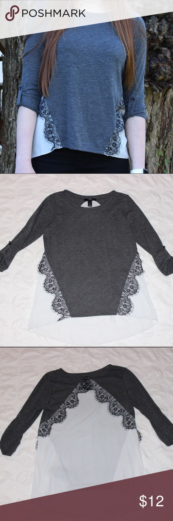 "I.N. San Francisco Dark Grey Lace Blouse ✨I.N. San Fransisco ✨Quarter Sleeves ✨Light White Material ✨Black Lace Detailing  ✨Excellent Condition, Like-new   Model: -weight: 125 lbs -height: 5'7""  ✨✨✨DISCOUNTS ON BUNDLES✨✨✨ I.N. San Fransisco Tops Blouses"