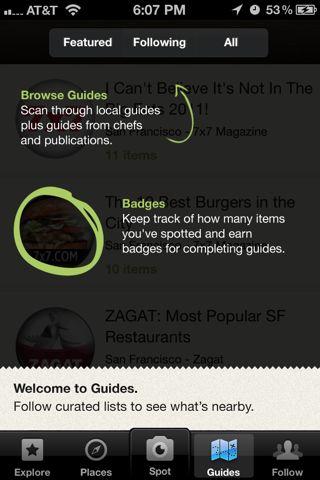 Foodspotting iPhone coach marks screenshot
