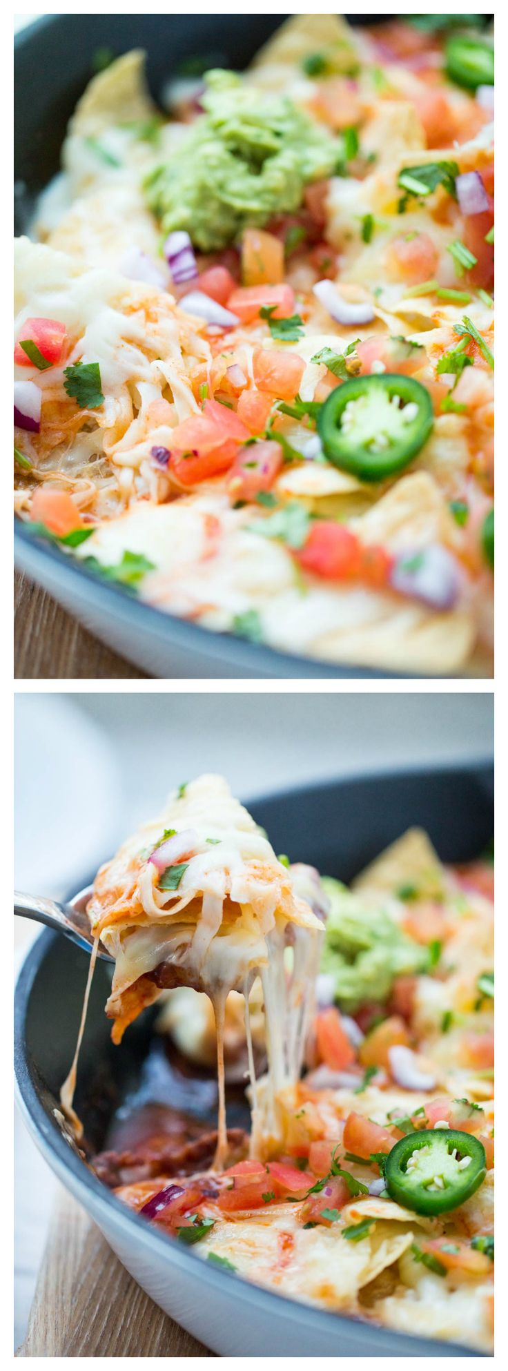 The Ultimate Skillet Nachos - love how EASY and cheesy these nachos are! They are the perfect appetizer recipe for game day!