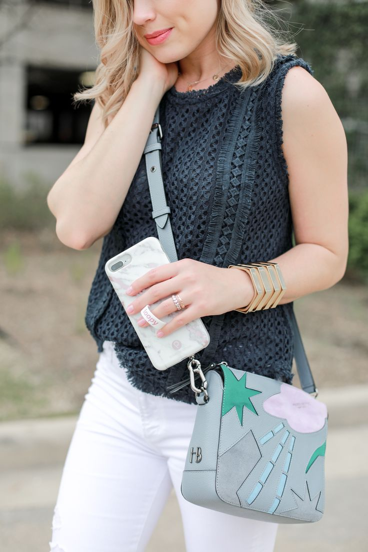 Distressed enim outfit | White denim outfit | Casual Spring outfit | Henri Bendel crossbody bag | Uptown with Elly Brown