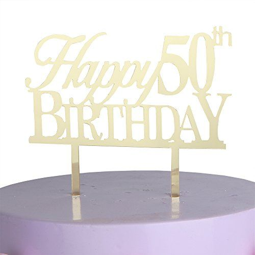 LOVELY BITON Gold Happy 50th Birthday Cake Topper Shining Numbers Letters for Wedding Birthday Anniversary Party * More info could be found at the image url.-It is an affiliate link to Amazon.