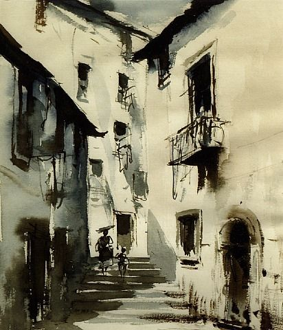 artnet Galleries: In the Alfama, Lisbon, Portugal by Edward Seago from The Taylor Gallery - London