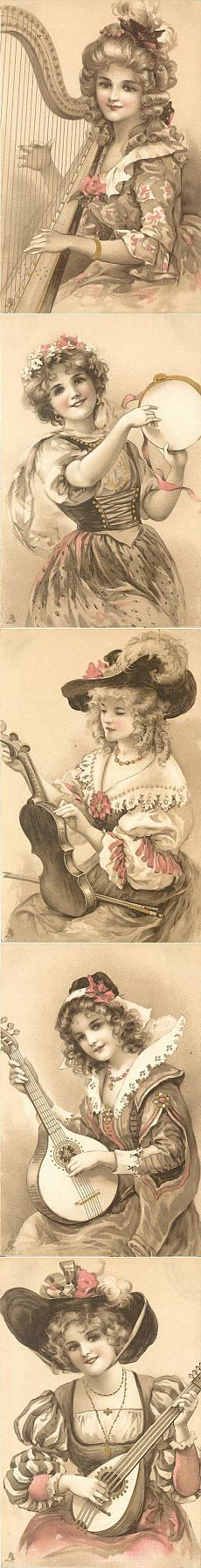 """Старинные открытки.""""Девушки с музыкальными инструментами"""""""