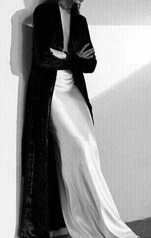 Simple formal goth. White silk maxi dress, black velvet maxi cardigan. ribbon style choker.