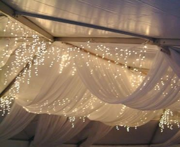 Winter decor - I clearly have a thing for sheer white draped fabric and icicle lights.