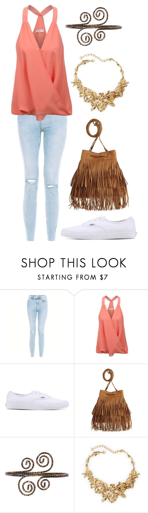 """""""Coral and Gold Swirls"""" by staysaneinsideinsanity ❤ liked on Polyvore featuring New Look, LE3NO, Vans and Oscar de la Renta"""