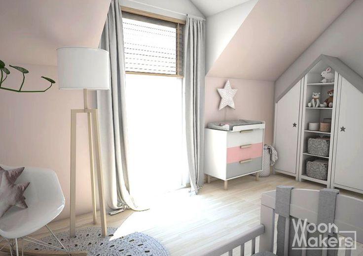 Licht roze muur in een meisjes babykamer. Little pink star by Woonmakers