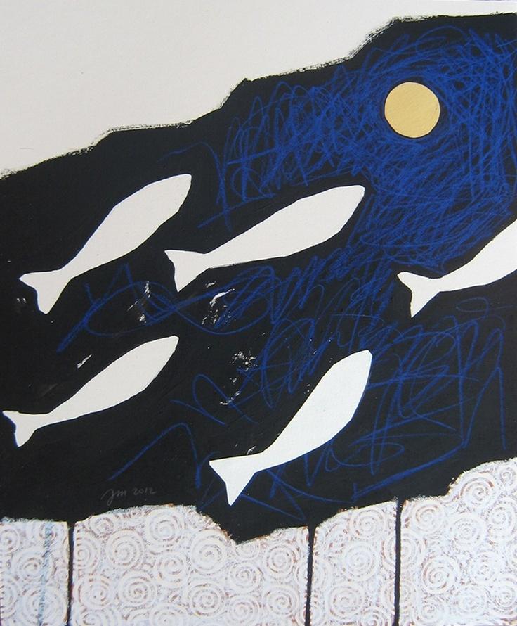 """andrea mattiello """"teoria del pensiero positivo"""" 4di4 acrilico,grafite,pastello e collage su cartone vegetale cm 30x36; 2012"""