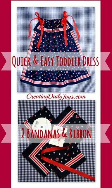 Easy Bandana Dress for a Toddler | Creating Daily Joys | http://www.creatingdailyjoys.com/bandana-dress-toddler/ #bandana #toddler