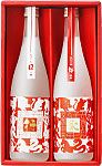 越の誉 行来セット 紅白の干支が描かれ、白帯は2013年の巳、赤帯は2014年の午。濁り酒?なのかな。赤が引き立って綺麗。