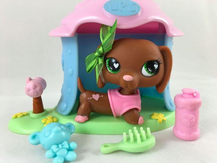 Littlest Pet Shop RARE Dachshund #556 w/Green Heart Eyes, House & Accessories #Hasbro