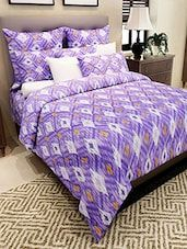 Amethyst Cotton Ikat Print Double Bedsheet With Two Pillow Covers - Online Shopping for bed sheet sets #DoubleBedSheets