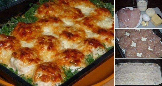 Zapékané kuřecí kuličky na smetaně | 500 g kuřecí prsa 1 cibule 1 vejce 3 stroužky česnek 200 ml smetana na vaření 150 g tvrdý sýr sůl, pepř Kuřecí prsa nakrájíme na malé kousky. Cibuli nakrájíme na drobno a dame k masu. Osolíme a opepříme. Klepneme vejce. Pekáček vymažeme, nalijeme smetany a poklademe kuličky z masa a cibule. Dáme péct do trouby 10 - 15 min 180°. Po 15 min kuličky zalijeme smetanou se sýrem a a česnekem a pečeme dalších 15 - 20 min.