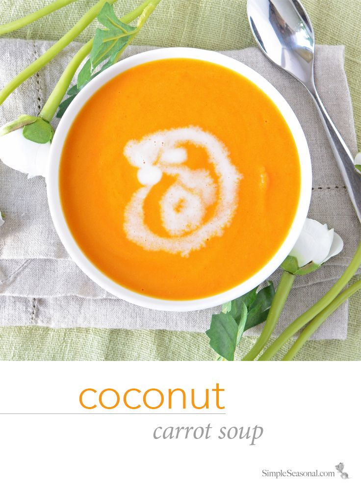 Coconut Carrot Soup - This creamy, lightly-curried, and mellow soup is perfect for those cooler, in-between days at the beginning of spring.